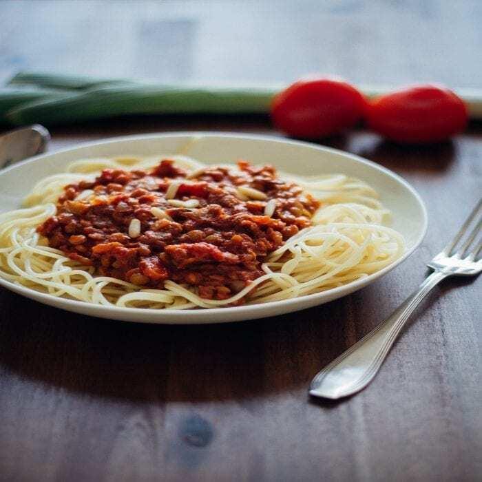 Spaghetti Linsen Bolognese Vegan