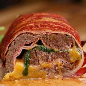 Hackfleisch Bacon Käse Rolle