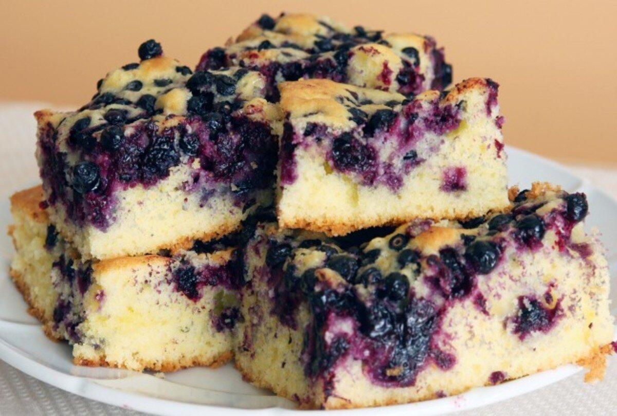 Haferflocken Kuchen mit Blaubeeren