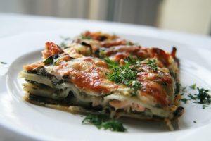 Lasagne mit Spinat und Lachs
