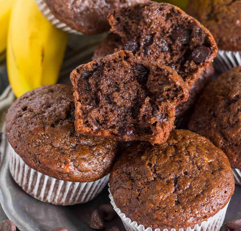 Saftige Schoko Bananen Muffins