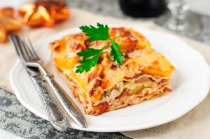 Vegetarische Kürbis Mangold Lasagne