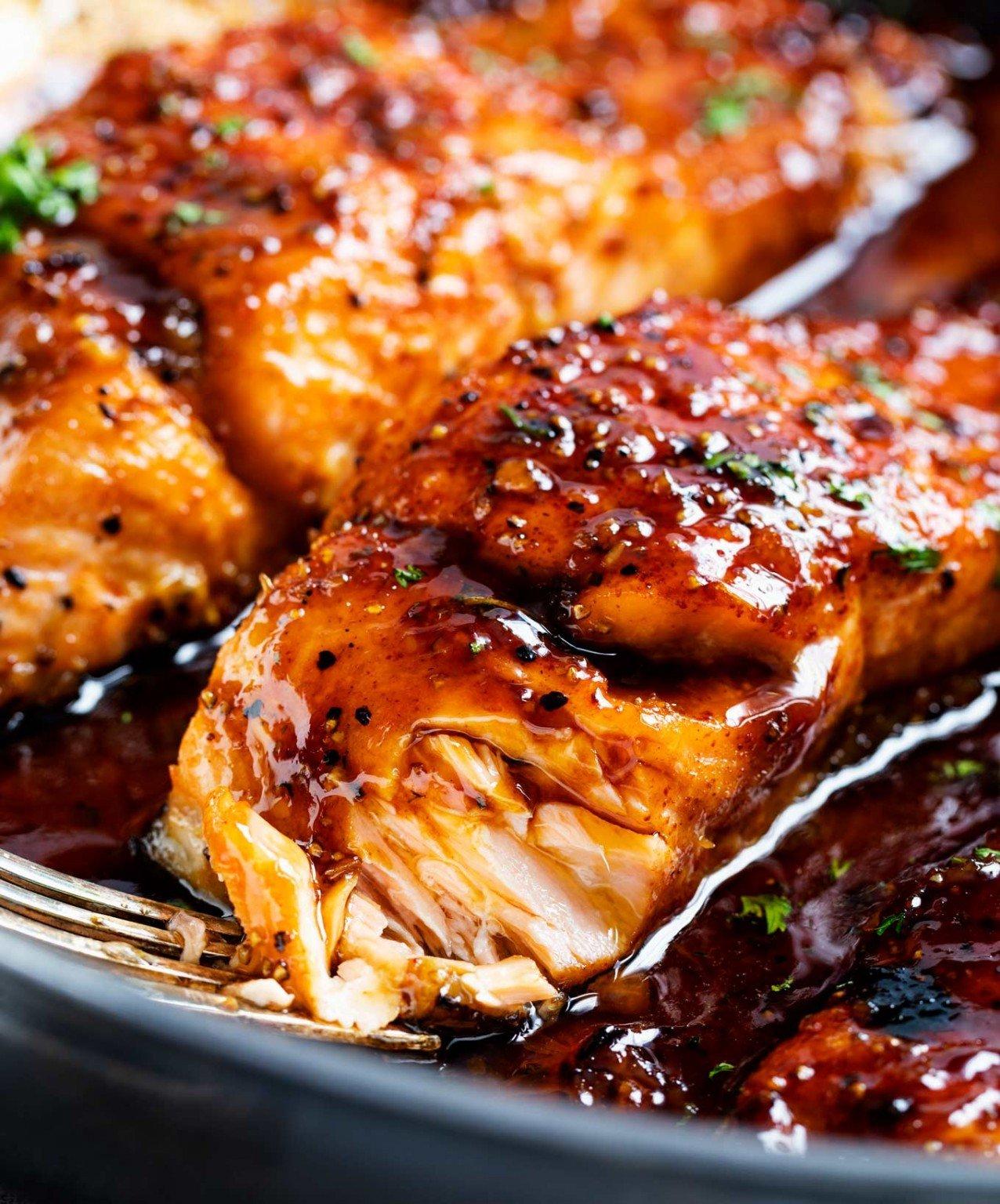 Lachs mit Honig im Ofen